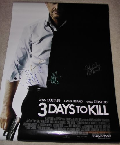 3 Days To Kill Autographed 27X40 Ds Poster Signed 4X By Kevin Costner, Amber Heard, Hailee Steinfeld Coa Guaranteed To Pass Psa/Dna