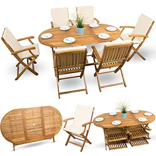 13-tlg-Akazien-Essgarnitur-Sitzgruppe-Holz-Gartenmbel-Set-Holzmbel-Gartenmbel-gelt-6x-Klappstuhl-1x-Klapptisch-6x-Sitz-Auflagen-creme-weiss