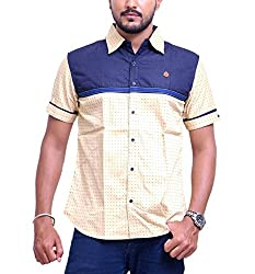 PP Shirts Men Cotton Casual Shirt ( Beige XXXL )