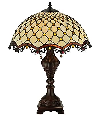 tiffany style stained glass table lamp cabachon w 18 shade. Black Bedroom Furniture Sets. Home Design Ideas