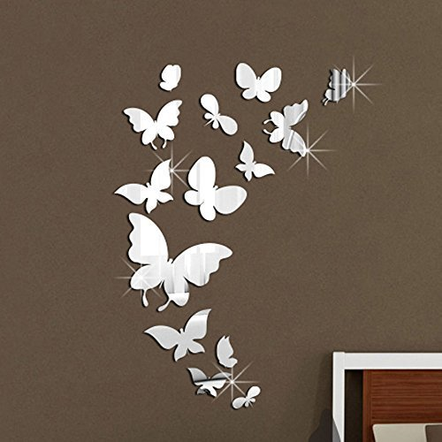 Walplus - Adesivi da parete, a forma di farfalla, a specchio, 14 pezzi, dimensioni totali: 37 x 55 cm, in PVC, removibili, multicolore
