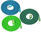10 Ft Top Quality Nylon Cloth Jacketed Tangle-Free USB 2.0 to 8 Pin Apple Lightning Cable for iPhone 6, 6Plus, 5, 5c ,5s, iPad 4, iPad mini, iPod nano 7, iPod 5G(green+blue+teal)