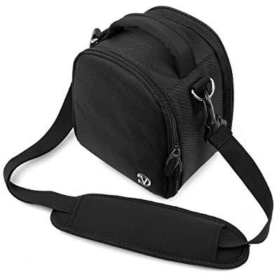 Laurel Compact Edition Black Nylon DSLR Camera Carrying Handbag with Removable Shoulder Strap for Canon EOS DSLR Camera