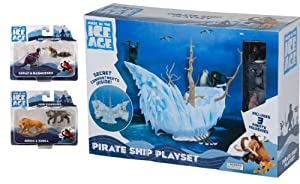 Ice Age Continental Drift DELUXE Pirate Ship Playset with 7 Figurines: Gupta, Flynn, Captain Gutt, Diego, Shira, Scrat and Rasmussen