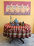 Spice Route ~ Red Orange Moroccan Themed Print Round Tablecloth 70 Round