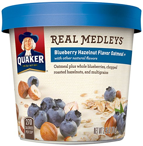 Quaker Real Medleys Oatmeal+, Blueberry Hazelnut, Instant Oatmeal+ Breakfast Cereal, (Pack of 12) (Quaker Multigrain Hot Cereal compare prices)