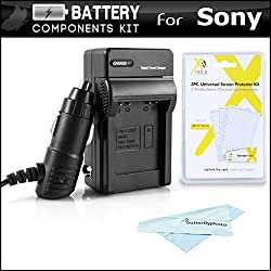 Battery Charger Kit For Sony Alpha a6000 a5000 Alpha 7 a7 a7K a7R Interchangeable Lens SLR Camera Includes Ac/Dc 110/220 Rapid Travel Charger For Sony NP-FW50 Battery + LCD Screen Protectors + MicroFiber Cloth