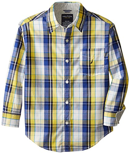 Nautica Big Boys' Yarn Dye Woven Plaid With Jersey Trim, Oceanblue, Large