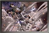 Attack on Titan – Poster – Battle + Wechselrahmen der Marke Shinsuke® Maxi aus edlem Aluminium (ALU) Profil: 30mm schwarz