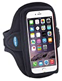 Armband for iPhone 6, 6s, 7 with a slim case; Galaxy S5/S6/S7 with no case; also fits iPhone 5/5s/5c/SE with LifeProof Case - for Men & Women for Running & Workouts [Black]