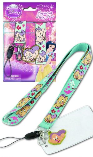 Dopey The Seven Dwarfs Snow White Disney Lanyard With Key Chain Clip And Charm & Card Holder