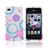 For Verizon ATandT Apple iPhone 4 Bling Hard Case Cover Circles PURPLE