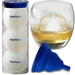 Large Deluxe Sphere Ice Molds #1 Premium (Set of 3) - No-Mess Funnel Now Included! - 100%... by StyloPhora
