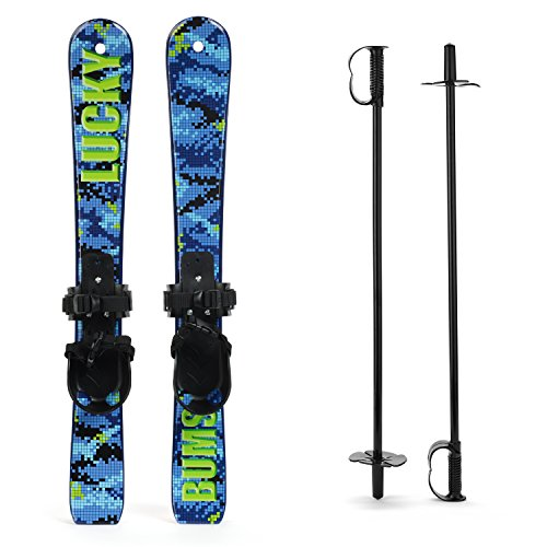 Lucky Bums Kid's Beginner Snow Skis and Poles,