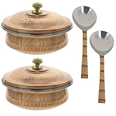 Set of 2, Vegetable Serving Copper Bowl Tureen with Ladle Indian Serveware Accessories, Diameter 5 Inches