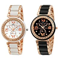 Swisstyle SS-703W-703B analog watch combo for women