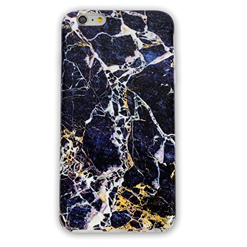 iPhone 6 Plus/ 6S Plus TPU Case Heavy Duty Cover for iPhone 6 5.5-inch Flexible Soft Anti-Scratch Marble Color Series (black gold stripe)