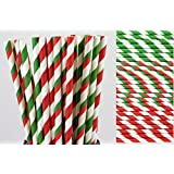 Christmas Striped Paper Straw Mix - Red and Green (25)