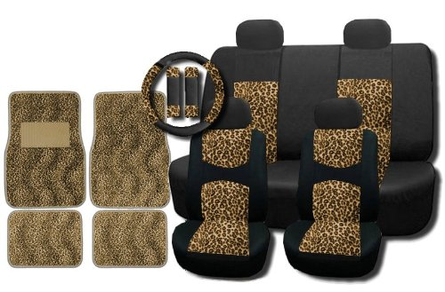New and Exclusive Mesh Animal Print Accent Interior Set Cheetah Tan Brown 15pc Seat Covers Front & Back Lowback, Back Bench, Steering Wheel & Seat Belt Covers - Floor Mats (Hello Kitty Seats Covers compare prices)