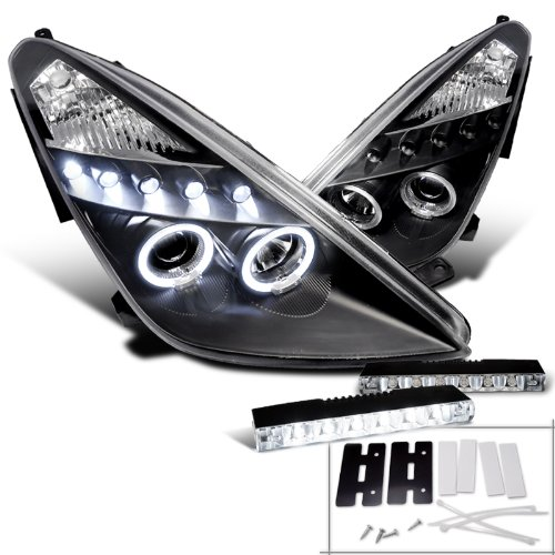 Toyota Celica Dual Halo Black Projector Headlight+6-Led Fog Lights Drl (Celica Halo Headlights compare prices)