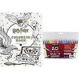 Harry Potter Coloring Book & 20 Sargent Art Firm Brush Tip Marker Pens Gift Set - Color Your Favorite Magical Hogwarts Scenes - For All Ages