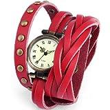 AMPM24 Montre Quartz Vintage Style Bracelet Cuir Rivet Retro Rouge WAA342