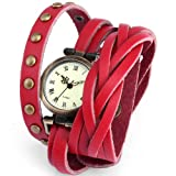 Ailisha Lady Women Fashion Wrap Around Bracelet Red Long Leather Quartz Watch WAA342