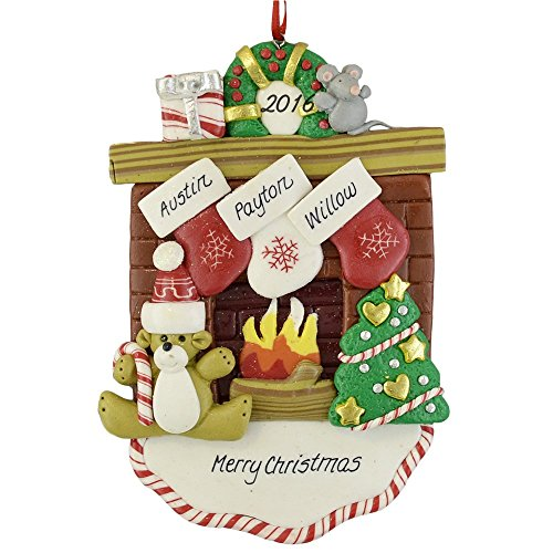 Fireplace Mantle with 3 Stockings Claydough Ornament (Fireplace Christmas Ornament compare prices)