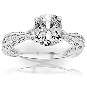 0.84 Carat Cushion Cut / Shape 14K White Gold Channel Set Eternity Curving Diamond Engagement Ring ( H-I Color , VS2 Clarity )