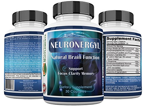 Natural Brain Function Support Supplement ★ Formula Support Focus, Mental Clarity, Mood, Memory, Alertness & Concentration ★ Optimum Blend of St. John's Wort, DMAE, Bacopa ★ 100% Money Back Guarantee (Focus Pep compare prices)