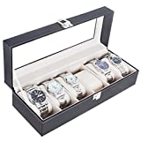 腕時計収納ケース 6本 高級感 ボックスタイプ ブラック PU レザー クロス付 MINO Creates