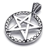 Konov Jewellery Vintage Stainless Steel Unisex Men's Pentagram Star Pendant Necklace, Colour Black & Silver, 26 inch Chain (with Gift Bag)