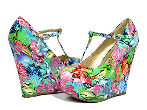 DREAM PAIRS HEIGHT Womens Mary-Jane T-Strap Wedge Platform Pumps Shoes BLUE MULTI SIZE 11