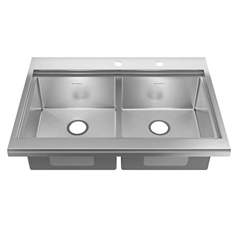 American Standard 11DB.253642.073 Prevoir Luxury Appliance 36-Inch Stainless Steel 2-Hole Double Bowl Kitchen Sink with Accessories, Brushed Satin