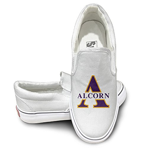 MGTER66 Alcorn State Braves Logo Street Dance Canvas Shoes Slip On Unisex Style Color White Size 41 (State Street Shoes For Men compare prices)