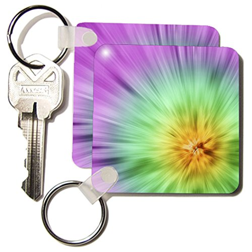 Kc_49038_1 Perkins Designs Potpourri - Multi Color Tie Dye Design - Bright And Colorful, This Tie Dye Design Really Stands Out - Key Chains - Set Of 2 Key Chains