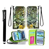 Hanicase Samsung Galaxy S3 I9300 Camo Mossy Tree Leather Wallet Purse Handbag Case Cover with Clear Slot for ID, Credit Card Slots and Hidden Slot for Cash