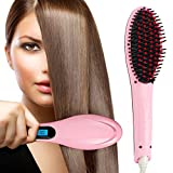 Hair Straightener, Pro Detangling Hair Brush Electric Comb Hair Straightening Irons,Instant Magic Silky Straight Hair Styling, Anion Hair Care, Anti Scald, Zero Damage-Pink