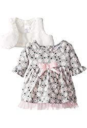 Youngland Baby-Girls Infant 2 Piece Brushed Knit Floral Printed Dress