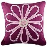Aaiye Ghar Sajaiye Raw Silk Magenta Baby Pink Cushion Cover (16 Inches X 16 Inches)