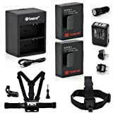 Smatree Battery(2 Packs)+Charger Kits+Head Strap Mount+Chest Belt Strap Mount+ Aluminum Thumbscrew+J-hook for Gopro HD HERO3+,HERO3,AHDBT-201,AHDBT-301, AHDBT-302