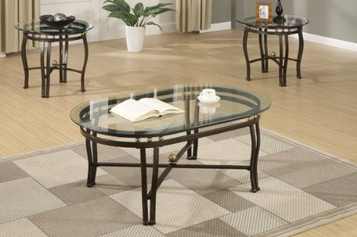 3 Piece Luxury Glass Coffee Table End Tables Set Kurbfadu