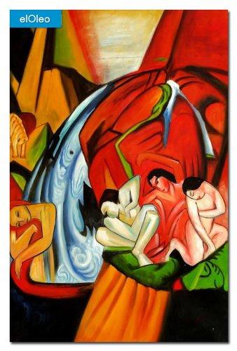 elOleo Franz Marc – Der Wasserfall 90×60 Gemälde auf Leinwand handgemalt 83278A bestellen