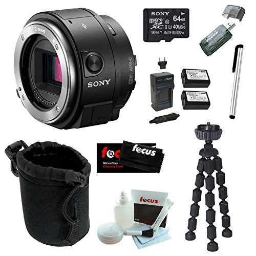 Sony-Alpha-QX1-ILCE-QX1B-QX1B-Smartphone-Attachable-Interchangeable-Lens-Style-Camera-Sony-64GB-C10-microSDHC-Two-Wasabi-NP-FW50-Battery-w-Charger-Stylus-Pen-Accessory-Bundle