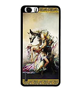 PrintDhaba Beauty and the Beast D-2526 Back Case Cover for HUAWEI HONOR 6 PLUS (Multi-Coloured)