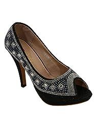 Belson Black Faux Leather Stiletto Party Wear For Women - B0113UWMHY