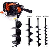 Powerful Robust 52cc Petrol Earth Auger Hole Borer 3HP - Includes 3 Drill bits