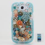 BlingAngels 3D Luxury Swarovski Crystal Diamond Blue Design Case Cover for Samsung Galaxy S3 S III i9300 fits Verizon, AT&T, T-mobile, Sprint and other Carriers (Handcrafted by BlingAngels)