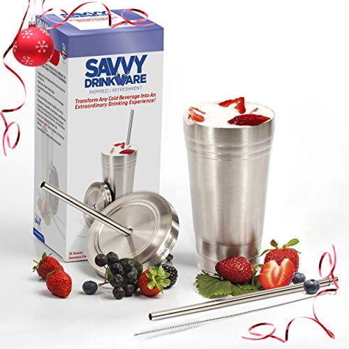 Stainless Steel Smoothie Cup w/ Lid and Straw + BONUS Straw & Cleaning Brush | 16 Oz Travel Tumbler | Double Wall Insulated | Perfect for Smoothies, Milkshakes, Iced Tea & Coffee | By Savvy Drinkware