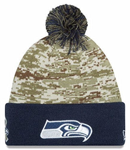 Seattle Seahawks New Era 2015 Salute To Service On-Field Pom Knit Hat-10370 (Seahawks Salute To Service Hat compare prices)